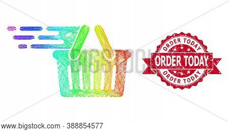 Rainbow Vibrant Network Shopping Basket, And Order Today Rubber Ribbon Seal. Red Stamp Seal Has Orde