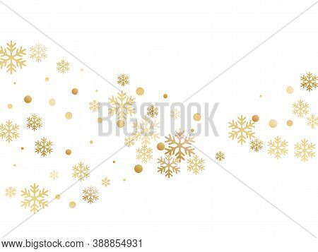 Crystal Snowflake And Circle Elements Vector Graphics. Cool Winter Snow Confetti Scatter Card Backgr