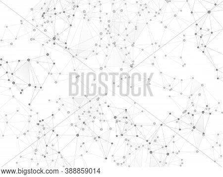 Social Media Communication Digital Concept. Network Nodes Greyscale Plexus Background. Dots Nodes Po