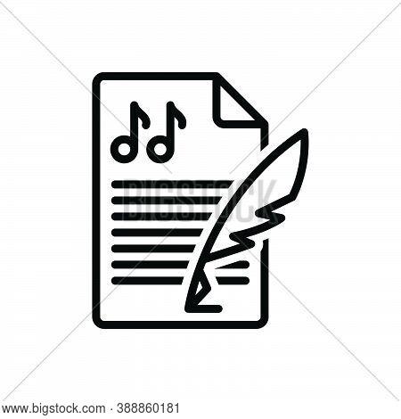Black Line Icon For Composition Melody Concept Music Creation Conformation Lyrics Formation Setup Hi