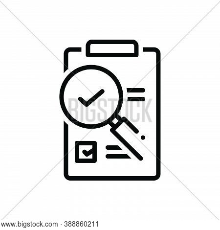 Black Line Icon For Evaluation  Research Magnifying-glass Assessment Appraisal Notice Checklist Feed