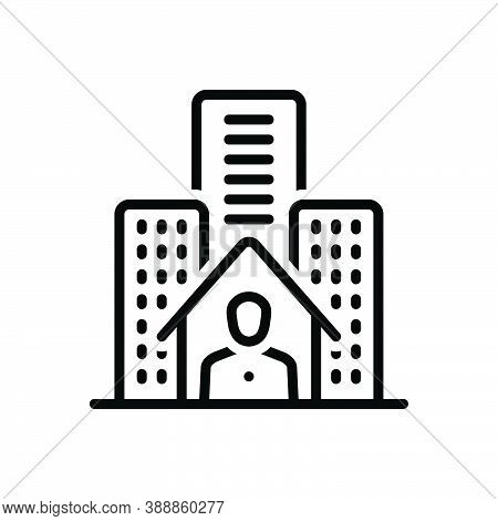 Black Line Icon For Resident Inhabitant Denizen Hometown City Building House Residential Architectur