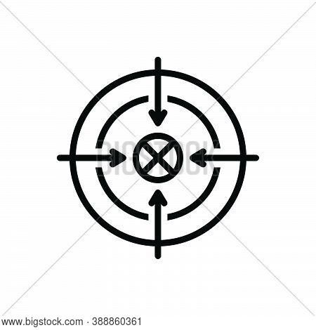 Black Line Icon For Shoot Sport Accurate Target Goal Ambition Archery Archer Concentration