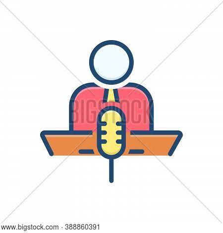 Color Illustration Icon For Narrate Describe Microphones Conference Speaker Candidate Speech Speak