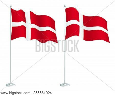 Denmark Flag On Flagpole Waving In The Wind. Holiday Design Element. Checkpoint For Map Symbols. Iso