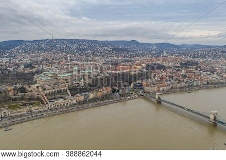 Aerial Drone Shot Of Buda Castle On The Hill In Budapest Winter Morning