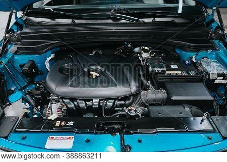 Novosibirsk, Russia - October 08, 2020: Hyundai Creta, Close Up Detail Of  Car Engine, Front View. I