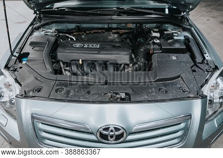 Novosibirsk, Russia - October 08, 2020: Toyota Avensis, Close Up Detail Of  Car Engine, Front View.