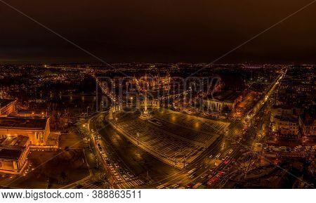 Aerial Drone Shot Of Museum Fine Art Vajdahunyad Castle At Heroe