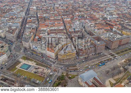 Budapest, Hungary - Feb 10, 2020: Aerial Shot Of Deak Ferenc Ter Square In Winter Morning