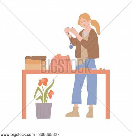 Choosing Second Hand Clothes On Swap Party Sketch Vector Illustration Isolated.