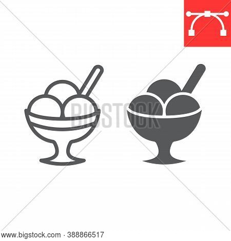 Ice Cream In Bowl Line And Glyph Icon, Dessert And Cold, Sorbet Sign Vector Graphics, Editable Strok