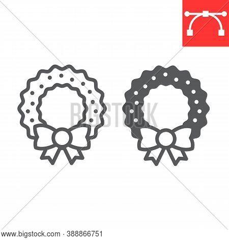 Christmas Wreath Line And Glyph Icon, Merry Christmas And Xmas, Christmas Decorative Sign Vector Gra