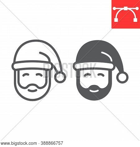 Santa Claus Line And Glyph Icon, Merry Christmas And Xmas, New Year Sign Vector Graphics, Editable S