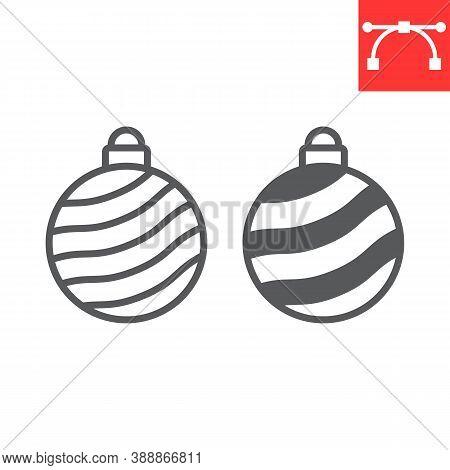 Christmas Tree Ball Line And Glyph Icon, Merry Christmas And Xmas, Christmas Bauble Sign Vector Grap
