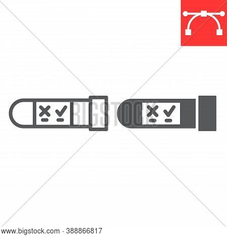 Hiv Test Tube Line And Glyph Icon, Aids And Hiv, Vial For Analysis Sign Vector Graphics, Editable St