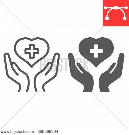 Health Care Line And Glyph Icon, Aids And Giving Love, Heart With Hands Sign Vector Graphics, Editab