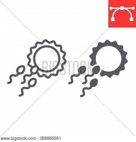 Sperm Fertility Line And Glyph Icon, Donor And Fertilize, Fertilization Sign Vector Graphics, Editab