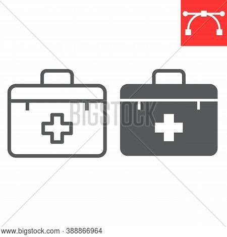 First Aid Kit Line And Glyph Icon, Emergency And Medical Bag, First Aid Box Sign Vector Graphics, Ed