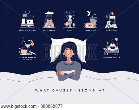 Insomnia Concept Vector Illustration. Young Woman Lying In Bed With Open Eyes. Causes Of Insomnia: E