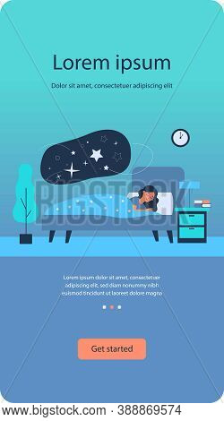 Woman Sleeping In Her Bedroom. Peaceful Person Resting In Bed With Stars In Cloud Bubble. Flat Vecto