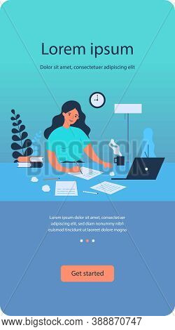 Writing Job Concept. Female Writer Writing In Papers At Her Workplace, Working At Computer At Home.