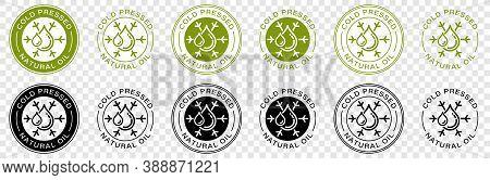 Stamp, Sticker - Cold Pressed Natural Oil. Information Sign. Vector
