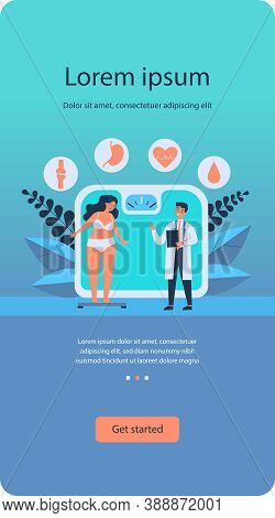 Doctor Consulting Overweight Girl Flat Vector Illustration. Cartoon Tiny Woman With Diabetes Standin
