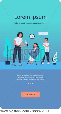 Mother Curing Daughter In Plaid From Flu. Cold, Syrup, Temperature Flat Vector Illustration. Healthc