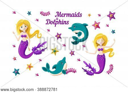 Mermaid, Dolphins, Seaweed And Colorful Starfish In Big Set. Happy Little Mermaid With Golden Hair.
