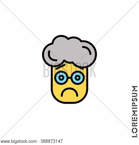 Sad Bad Mood Feel Sorry Regret Yellow Emoticon Boy, Man Icon Vector Illustration. Style.