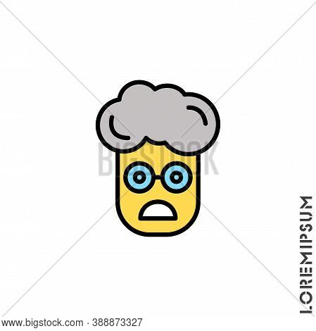 Frowning With Open Mouth Yellow Emoji Vector Boy, Man Icon. Frowning With Open Mouth Emoji Icon, Vec