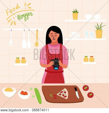 Food Blogger Make Photo Of Pizza. Female Chef Using Camera For Blog Or Video Channel. Cook Healthy F