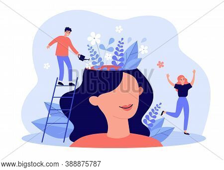 Happy Girl Having Great Mental Health And Positive Mood. Tiny Man Watering Flowers Inside Womans Hea