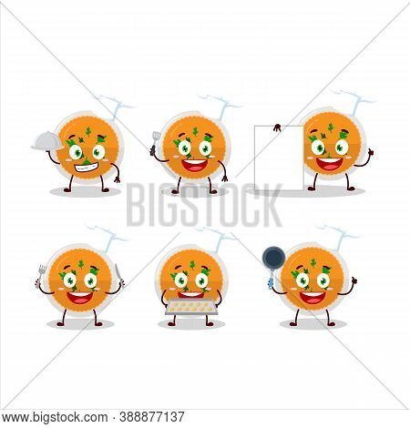 Cartoon Character Of Mashed Orange Potatoes With Various Chef Emoticons