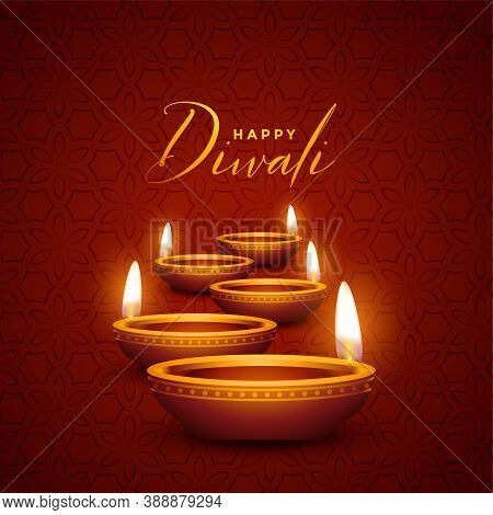 Lovely Happy Diwali Diya Decoration Design Background