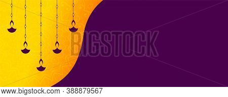 Hanging Diya Decoration Diwali Festival Banner Design