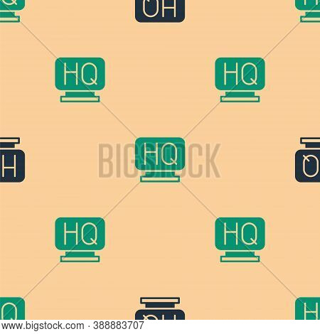 Green And Black Military Headquarters Icon Isolated Seamless Pattern On Beige Background. Vector