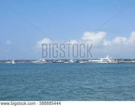 Denpasar, Indonesia - September 29, 2019: Several Ships Sailing On The Coastal Waters Of Mertasari.