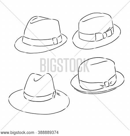 Summer Hat Vector Sketch Icon Isolated On Background. Hand Drawn Summer Hat Icon. Summer Hat Sketch