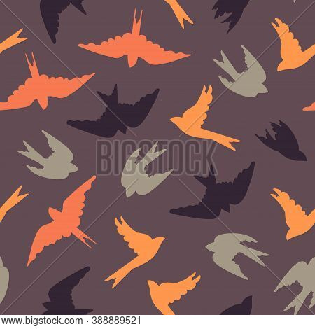 Seamless Pattern With Migrating Birds. Colored Birds On A Purple Background. Surface Design. Vector