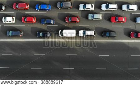 Aerial. Traffic Jam With Cars On A Highway. Peak Hour. Top View From Drone.