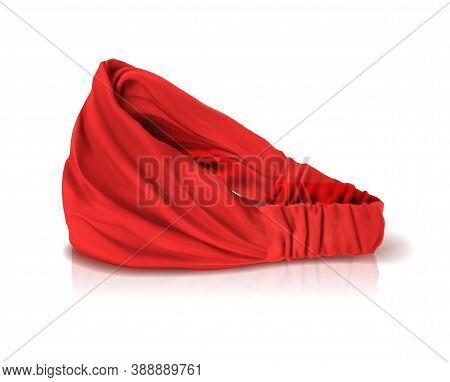 Red Headband For Hair. Headdress For The Cook. Mockup For Branding. Vector Illustration.