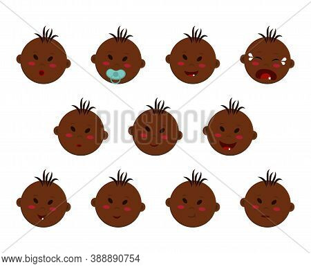 Vector Set Of Heads Of A Dark-skinned Boy With Different Facial Expressions And Moods. Chubby Emoji