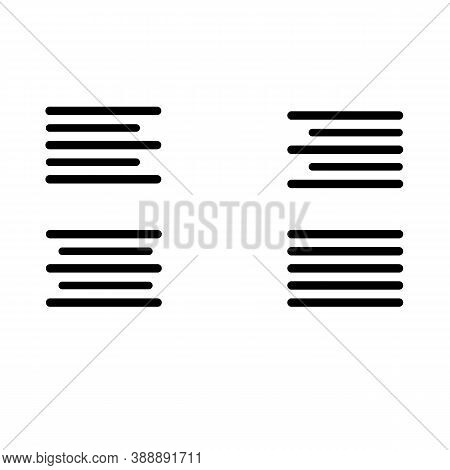 Text Alignment Icon On White Background. Text Align Set With Left, Right, Center And Justify Line. T