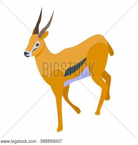 Fast Gazelle Icon. Isometric Of Fast Gazelle Vector Icon For Web Design Isolated On White Background