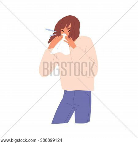 Sick Unhealthy Allergic Sneezing Woman. Female Character Blowing Nose Into Handkerchief. Symptom Of