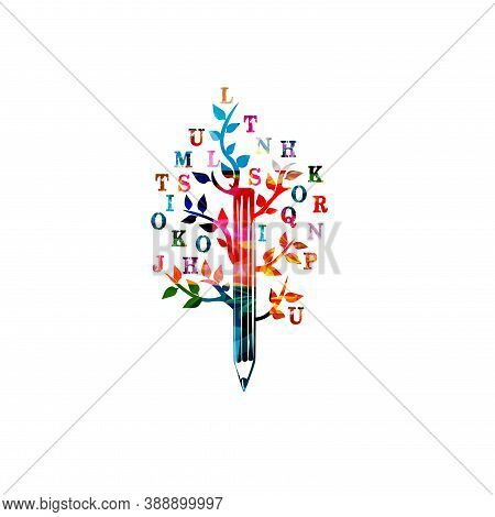 Colorful Pencil With Letters For Creative Writing, Idea And Inspiration, Education And Learning Conc