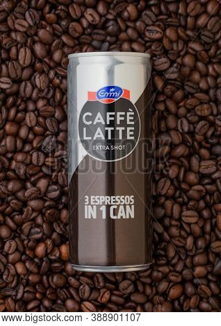 London, Uk - September 09, 2020: Aluminium Can Of Emmi Caffe Latte Extra Shot On Top Of Fresh Raw Co