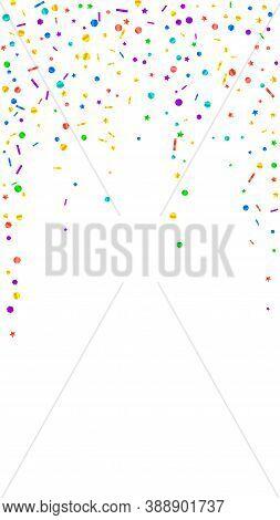 Festive Lively Confetti. Celebration Stars. Festive Confetti On White Background. Gorgeous Festive O